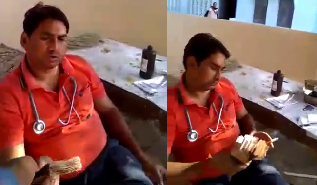 government-doctor-caught-in-camera-during-taken-bribe-in-shivpuri-video-viral