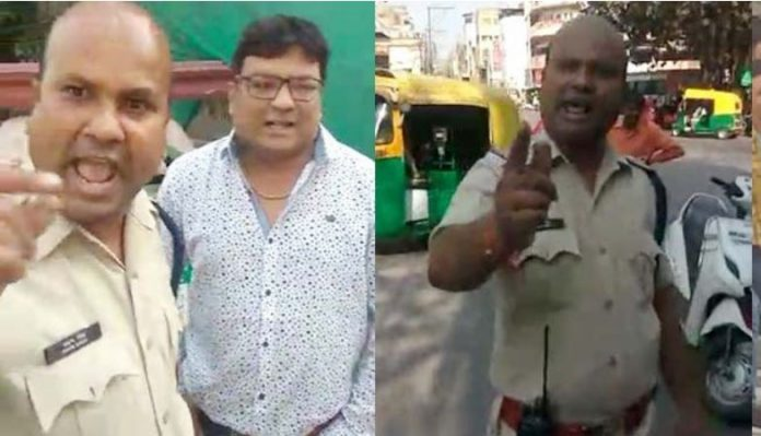 traffic-police-officer-and-congress-leader-clash-video-viral--indore-madhypradesh