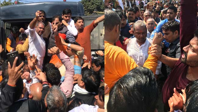-BJP's-tremendous-protest-in-gwalior-police-lathicharge