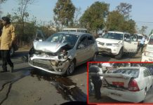 car-collapsed-in-the-convoy-of-minister-onkar-singh-markam-in-shahdol