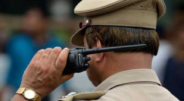 police-team-checking-on-border-cameras-on-check-post-in-mp