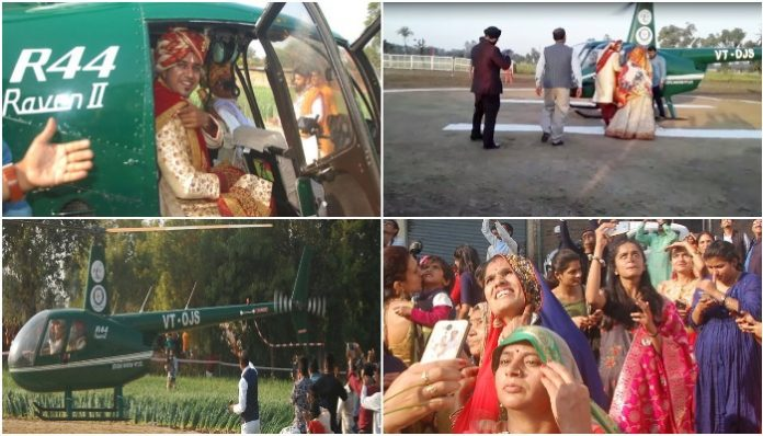 son-of-the-farmer-arrived-with-a-procession-from-helicopter-to-bring-his-bride