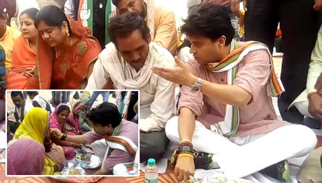 jyotiraditya-Scindia's-lunch-party-with-workers-in-guna