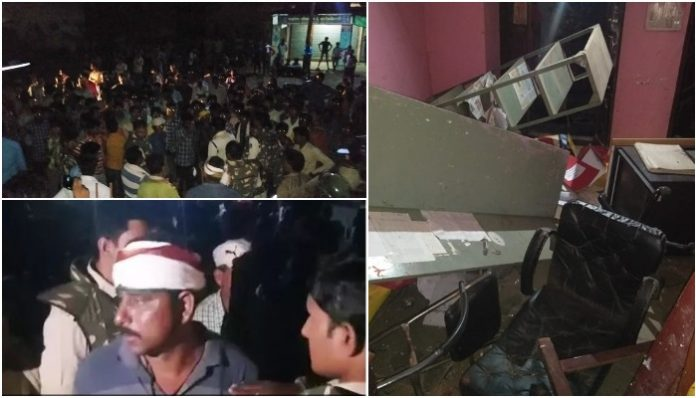 villagers-protest-and-stone-throwing-at-tanda-police-station-in-dhar-district-madhya-pradesh