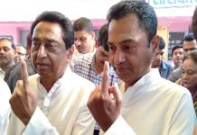 cm-kamal-nath-cast-vote-with-son-nakul-nath-and-family-members-IN-chindwada