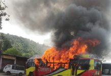 buss met with fire accident rajgarh