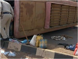 Jabalpur News: अनियंत्रित होकर बस पलटी, 20 मजदूर घायल पांच की हालत नाजुक
